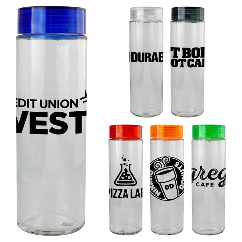 Clear View 22 oz. Glass Water Bottle