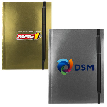 "4"" X 6"" Perfect Metallic Cover Notebook with Elastic Pen"