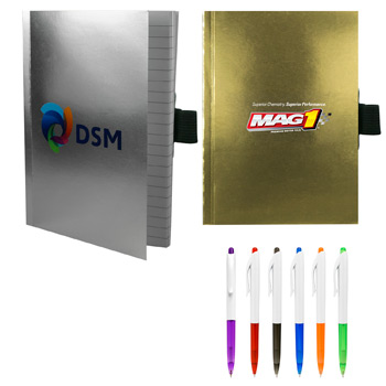 "4"" X 6"" Perfect Metallic Cover Notebook with Pen"