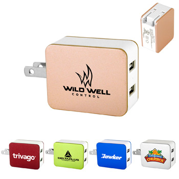 UL Metallic 2 Port USB Folding Wall Charger