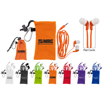 Flat Cord Ear Buds with Microfiber Pouch