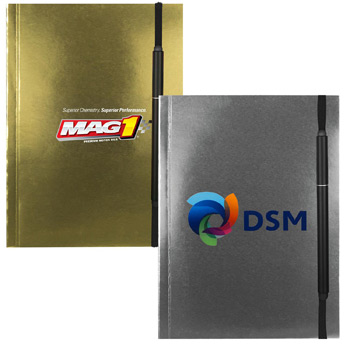 "5"" X 7"" Perfect Metallic Cover Notebook with Elastic Pen"