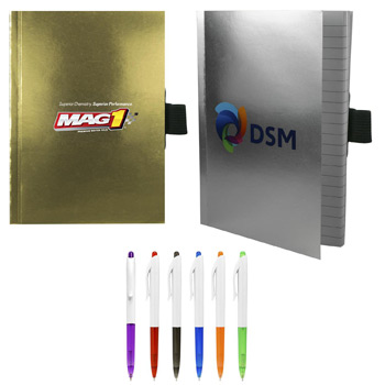 "5"" X 7"" Perfect Metallic Cover Notebook with Pen"
