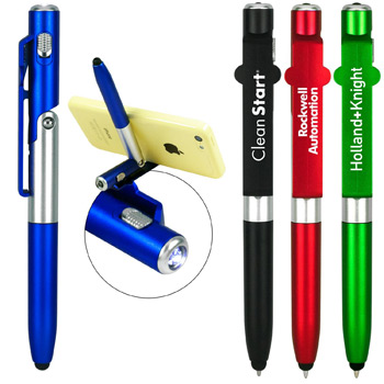 Phone Stand Flashlight Stylus Pen
