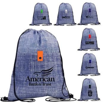 Blue Denim Drawstring Backpack