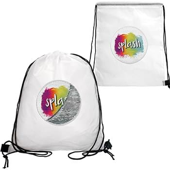 Sequin Patch Drawstring Backpack